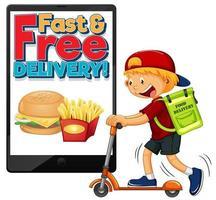 leveransman eller kurirskoter med snabb och gratis applikation på smartphone