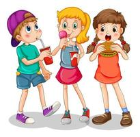 grupp barn som äter snabbmat vektor