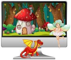Märchen auf Computerbildschirm lokalisiert auf weißem Hintergrund