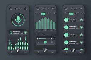 musikspelare, unikt neomorf design kit vektor