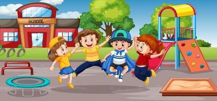 Schüler am Schulspielplatz vektor