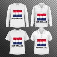 uppsättning olika manliga skjortor med nederländsk flaggskärm på isolerade skjortor