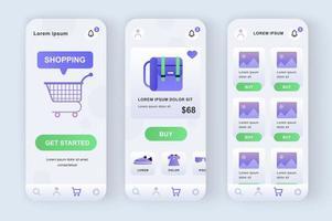 Einkaufslösung, einzigartiges neomorphes Design-Kit vektor