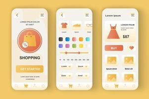 Einkaufen, einzigartiges neomorphes Design-Kit vektor
