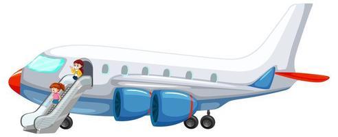 Leute, die aus dem Flugzeug steigen
