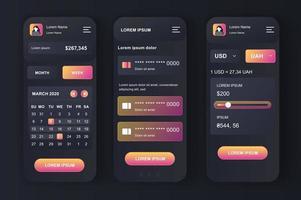 persönliches Finanzmanagement, neomorphes Design-Kit vektor