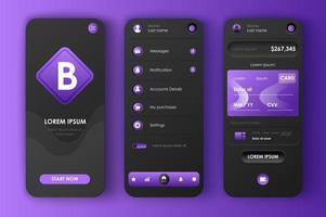 webbbank, unikt neomorf design kit vektor