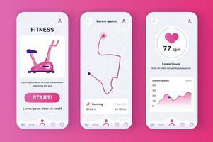 fitness träning unikt neomorf rosa design kit vektor