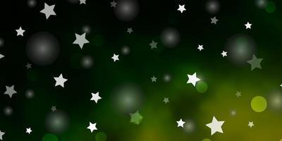 dunkelgrüne Vorlage mit Kreisen, Sternen. vektor