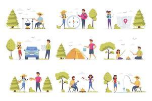 camping scener, bunt med människor karaktärer vektor