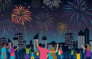 människor firar nytt år med fyrverkerier vektor