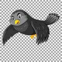 söt svart fågel seriefigur