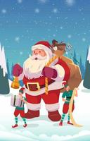 Weihnachtsmann und kleine Elfen vektor