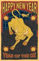 vintage kinesiska nyår affisch med gyllene oxe vektor