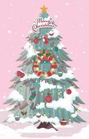 Weihnachtsbaum mit Schnee an der Spitze vektor