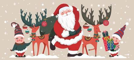 Santa mit entzückenden Helfern und Hirschen