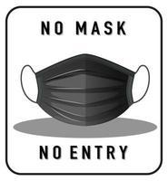 keine Maske kein Eintrittswarnzeichen mit Maskenobjekt vektor