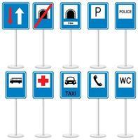 Satz blaue Verkehrszeichen mit Stand lokalisiert auf weißem Hintergrund