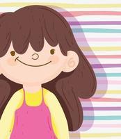 brunett liten flicka på en strippad bakgrund vektor