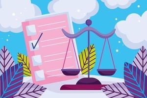 Karikatur im Maßstab von Recht und Gerechtigkeit vektor