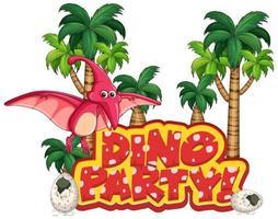 teckensnittsdesign för ordet dino party med pteranodon flyger
