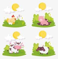 uppsättning söta husdjur vektor