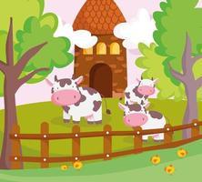 söta djur på en gård vektor