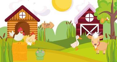 süße Tiere auf einem Bauernhof vektor