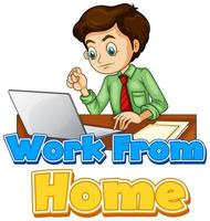 teckensnittsdesign för arbete hemifrån med mannen som arbetar på datorn