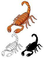 uppsättning scorpion tecknad