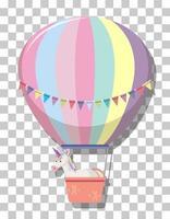 niedliches Einhorn im Regenbogenpastellheißluftballon lokalisiert auf transparentem Hintergrund
