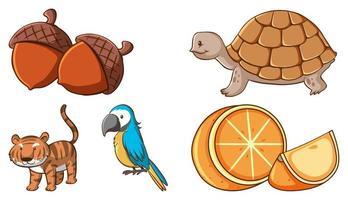 großer Satz von verschiedenen Tieren und anderen Gegenständen auf weißem Hintergrund vektor