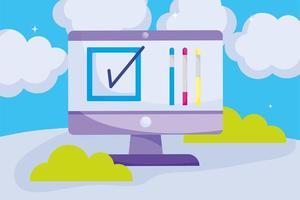 rösta online och forskningskoncept