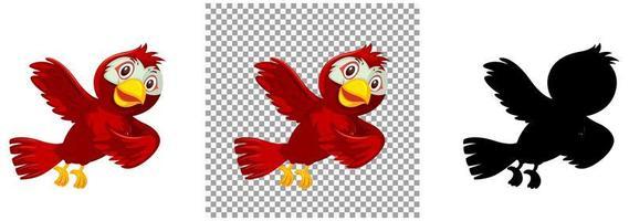 söt röd fågel seriefigur