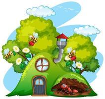 Szene mit Pflanzen und Insekten im Garten vektor