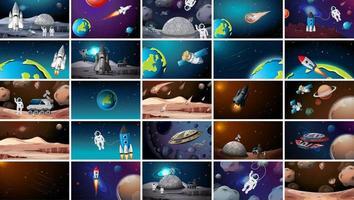 große Menge verschiedener Weltraumszenen vektor
