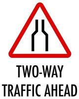 Zwei-Wege-Verkehr voraus Zeichen auf weißem Hintergrund