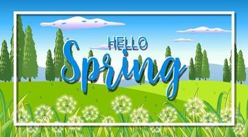 Naturszenenhintergrund mit Wort hallo Frühling im Garten vektor