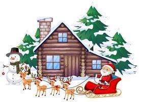 Szene mit Weihnachtsmann und Rentier auf Schlitten vektor