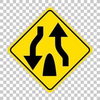 gelbes Verkehrswarnschild auf transparentem Hintergrund