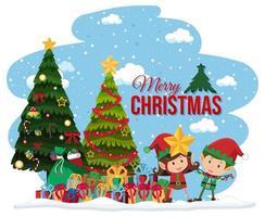 Elfen feiern Weihnachtsbanner vektor