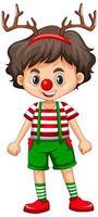 süßer Junge in der Weihnachtskostüm-Zeichentrickfigur