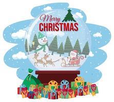 Santa auf Schlitten mit Hirsch Lieferung Geschenk vektor