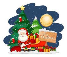 Weihnachtsmann mit Weihnachtsbaum und Schneemann in der Nacht