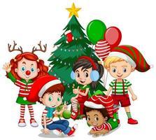 Kinder tragen Weihnachtskostüm-Zeichentrickfilmfigur mit Weihnachtsbaum auf weißem Hintergrund vektor