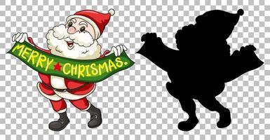 Santa hält frohe Weihnachten Banner