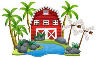 Szene mit roter Scheune und Windmühlen auf weißem Hintergrund vektor