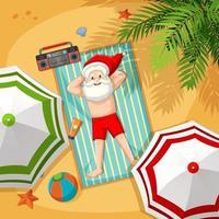 jultomten på stranden för sommarjul vektor