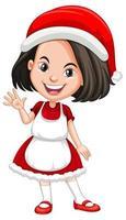 süßes Mädchen in der Weihnachtskostüm-Zeichentrickfigur