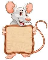 Brettschablone mit niedlicher Maus auf weißem Hintergrund vektor